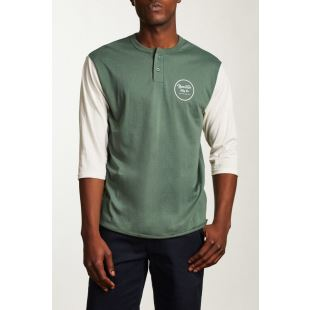 Wheeler 3/4 Slv Henley Washed Chive