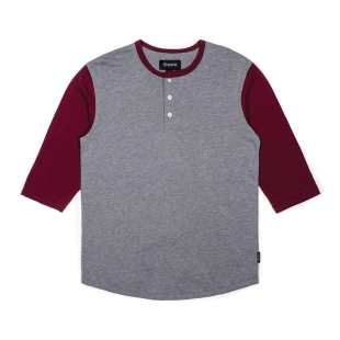 Adam 3-4 Henley Heather Grey Maroon