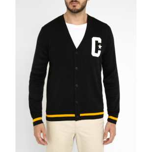 Fox Cardigan Black White