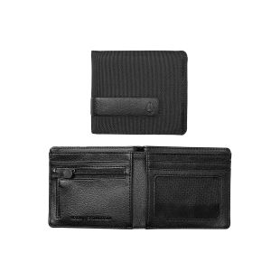Showdown Bi Fold Zip Wallet All Black Nylon