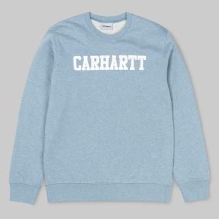 College Sweat Dusty Blue Heather White