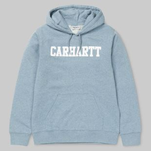 Hooded College Sweat Dusty Blue Heather White