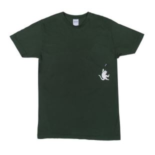 Hang In There Pocket Tee Hunter Green