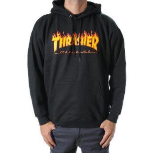Thrasher Sweat Hood Flame Black e8bd3dd25de0