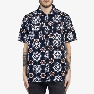 SS Button Down WaterBrush Navy