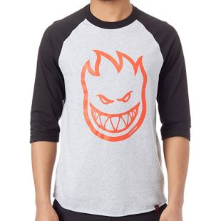 Spitfire T Shirt 3/4 Bighead Athletic Heather Blk Red